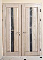 Двери межкомнатные с витражем из натурального дерева (ясень)