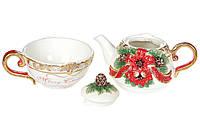 Чайний набір Merry Christmas чашка 300 мл + чайник 400 мл