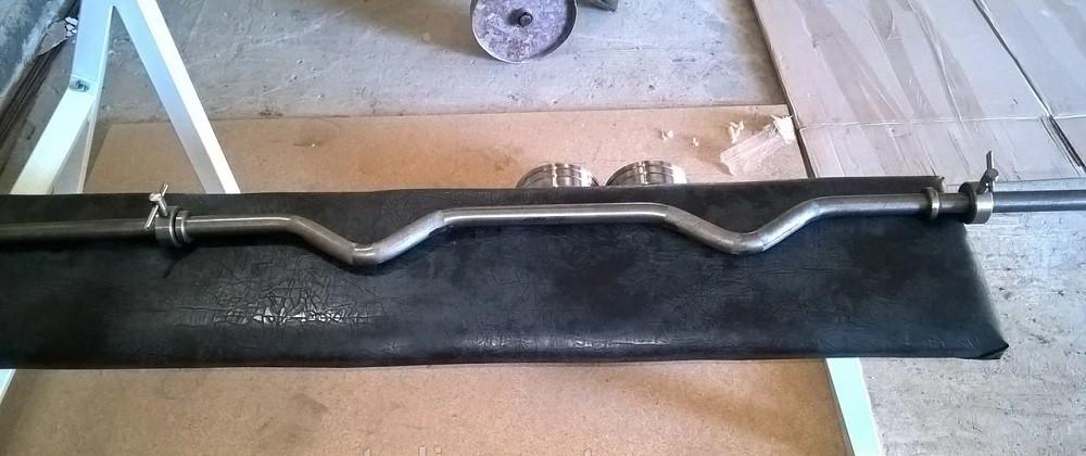 Гриф изогнутый W-образный для штанги 1.4 м с замками для дома спортзала  (кривой сталь диаметр 25 мм)