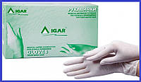Перчатки смотровые IGAR латексные с пудрой Игар, размеры М и Л, 100 шт/уп, цвет натуральный