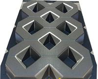 """Форма из АБС пластика для изготовления плитки """"Газон решетка"""". Размеры 600х400х60 мм (4,16 шт/м2)"""