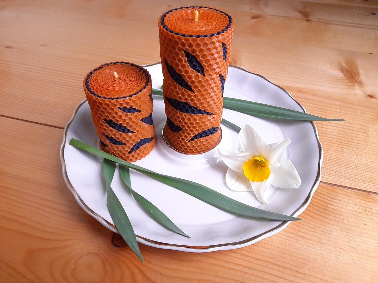 """Набор восковых свечей с цветной вощины """"Оранжевой"""" Zigrivay 2 шт (10024)"""