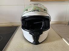 Белый Мото шлем оригинал Европа закрытый Naxa(Польша) сертифицирован, фото 3