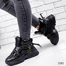 Кроссовки женские черные, зимние из эко кожи. Кросівки жіночі теплі чорні з еко шкіри, фото 2
