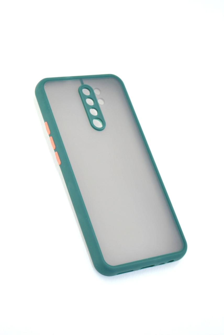 Чехол Xiaomi Redmi 9A Silicon Gingle matte Dark Green/Orange