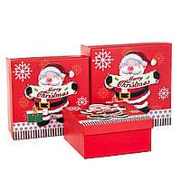 """Комплект новогодних подарочных коробок """"Весёлый Дед Мороз"""" 3 шт. (20х20х9.5 см)"""