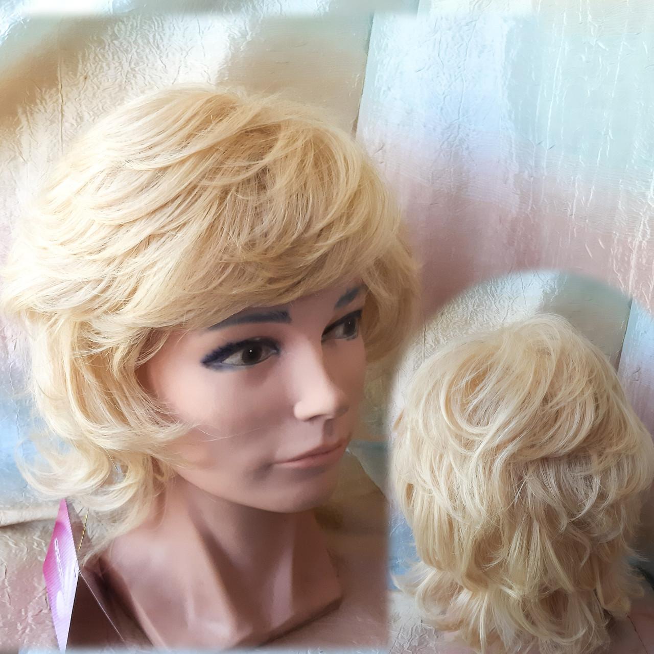 Парик из натуральных волос каскад блонд ALINA-613