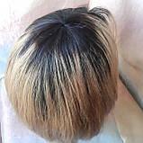 """Парик из натуральных волос каре удлиненное омбре черно-медовый ERIN 10""""- T1b-27, фото 8"""