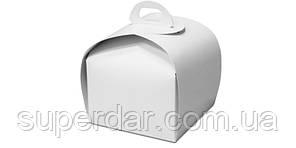Упаковка для шматочка торта, тістечка та ін. виробів, 110х110х110 мм, біла СД01-02