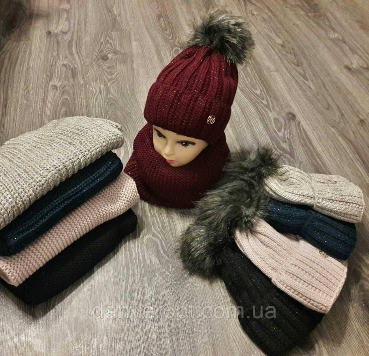 Комплект: шапка+снуд женский молодежный с бубоном размер 56-58 см купить оптом со склада 7км Одесса