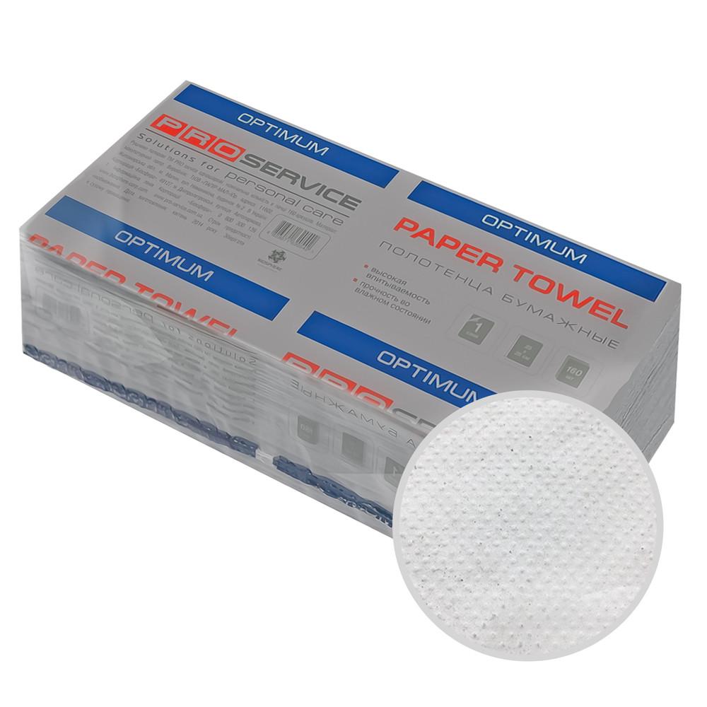 Полотенца бумажные листовые серые V-сложение 1-слойные 160 шт/уп макулатурные PRO Service OPTIMUM