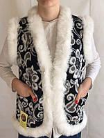 Жилетка из белого кролика и овчины, жилет из овечьей шерсти, безрукавка из овечьей шерсти, размер 38-62, фото 1