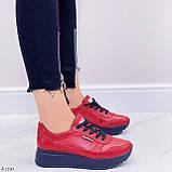 Женские кроссовки красные натуральная кожа, фото 6