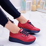 Женские кроссовки красные натуральная кожа, фото 2