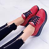 Женские кроссовки красные натуральная кожа, фото 3