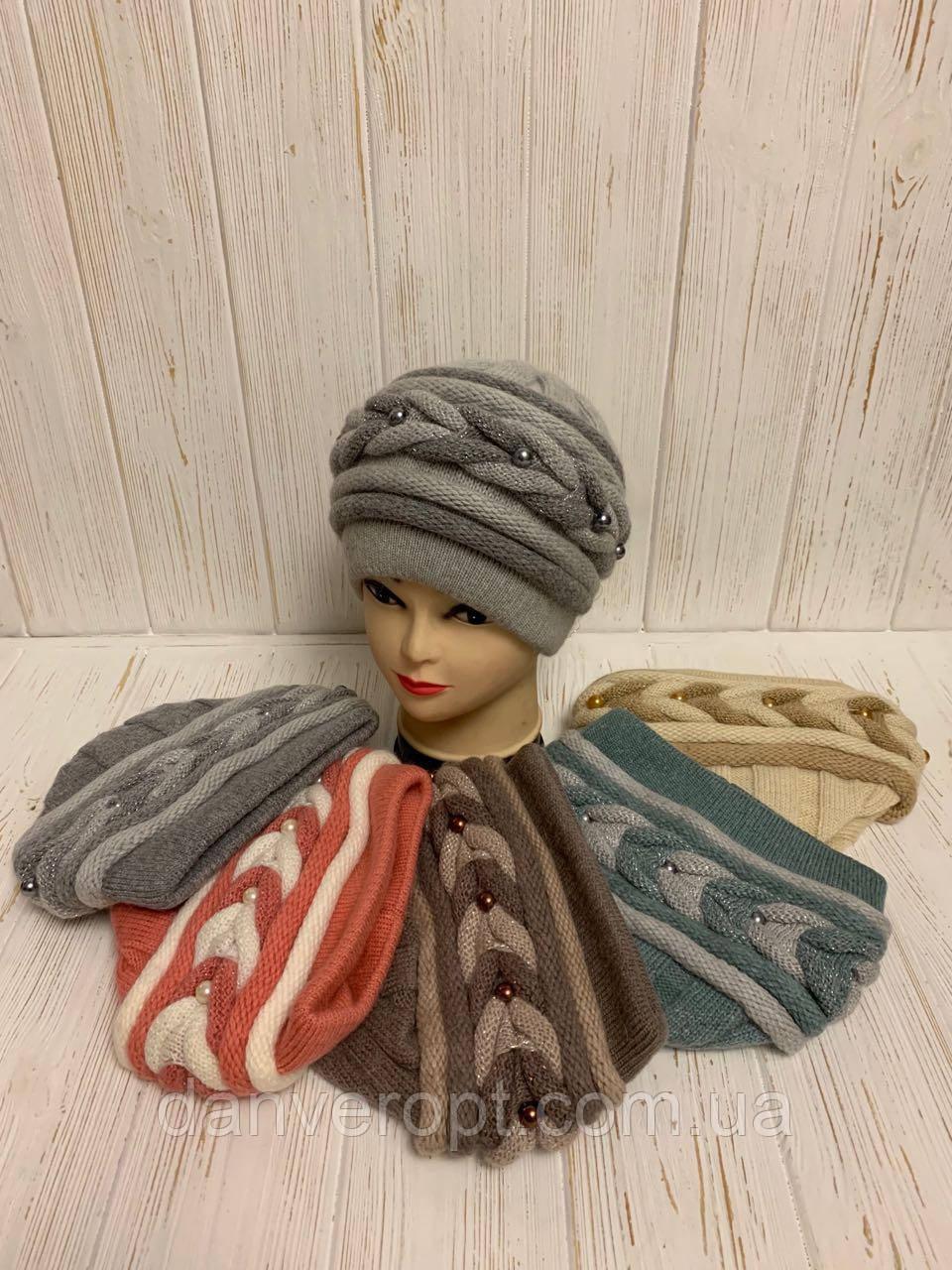 Шапка женская стильная размер 56-58 см купить оптом со склада 7км Одесса