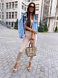 Женская джинсовка оверсайз с бахромой на карманах из страз джинсовая куртка, фото 5