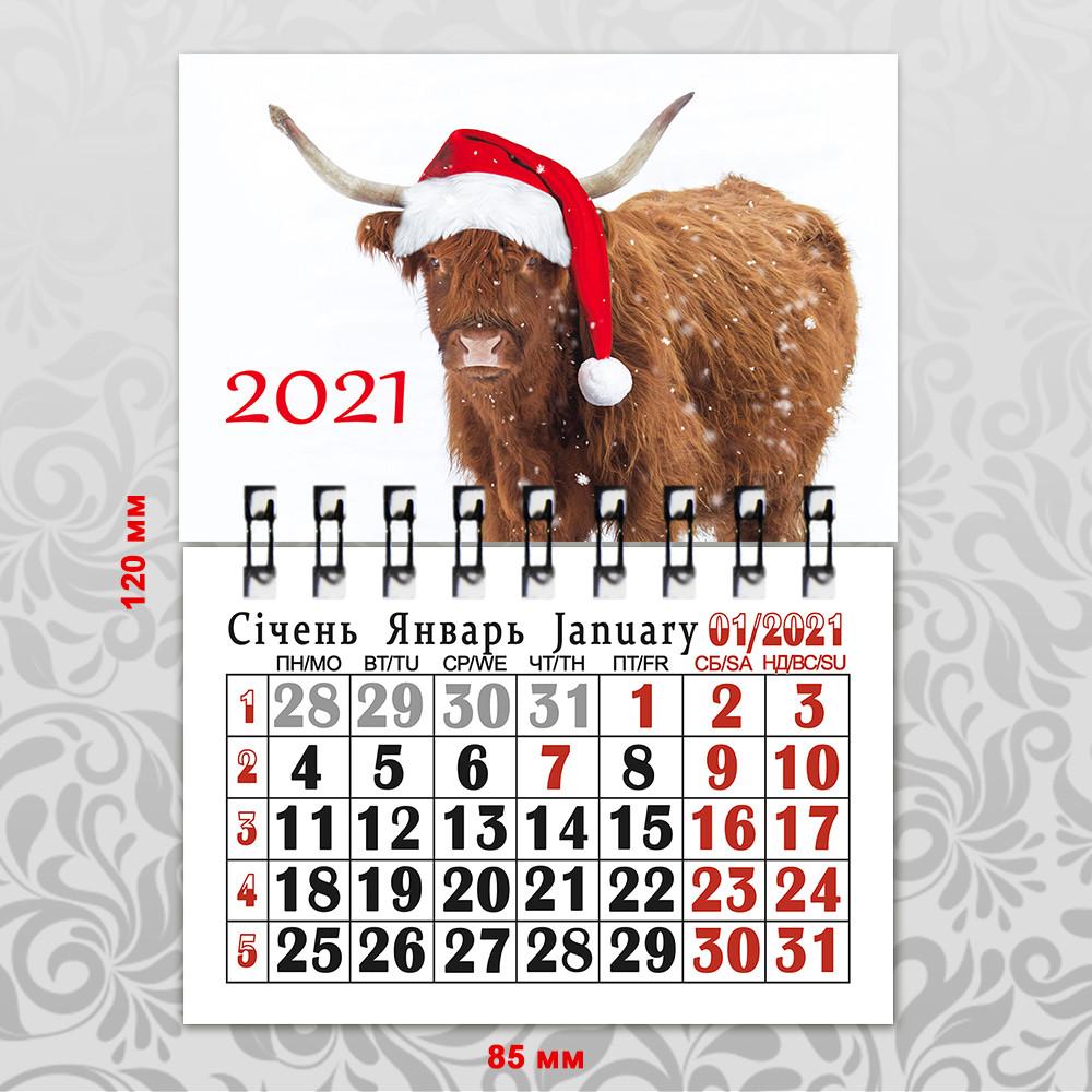 Календарь на магните год Быка 2021 А7 091