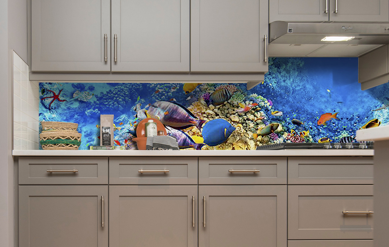 Вініловий 3Д кухонний фартух Тропічні Риби самоклеюча плівка ПВХ скіналі підводний світ корали Блакитний