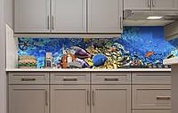 Вініловий 3Д кухонний фартух Тропічні Риби самоклеюча плівка ПВХ скіналі підводний світ корали Блакитний, фото 1