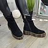Ботинки женские замшевые на утолщенной подошве. Цвет черный, фото 3