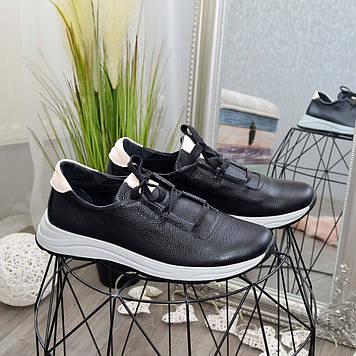 Туфли мужские кожаные спортивные на шнуровке. Цвет черный/бежевый