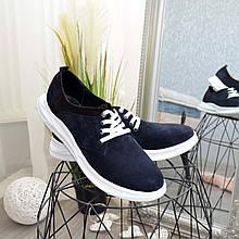 Туфли мужские на шнуровке, натуральная замша синего и коричневого цвета.
