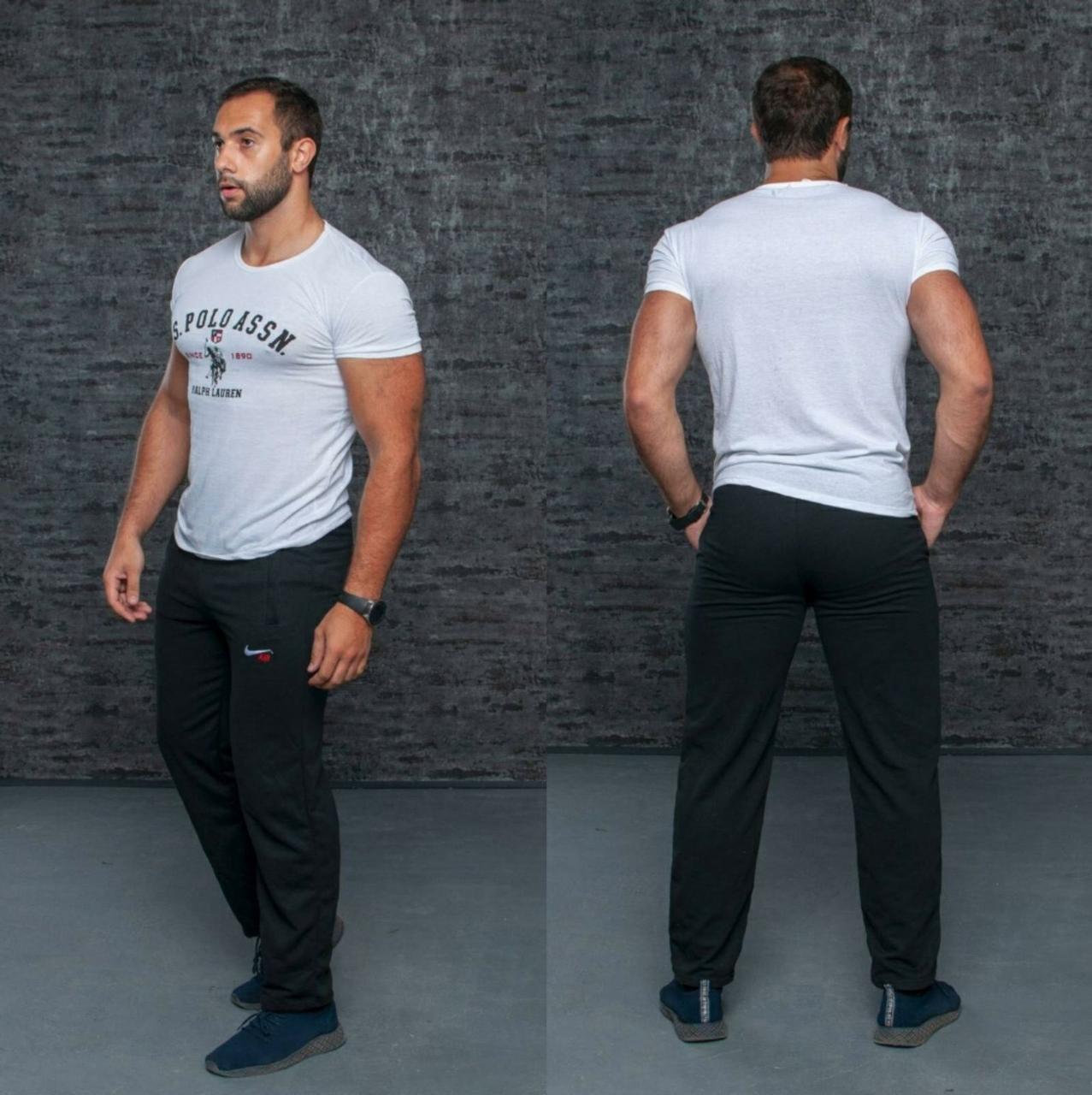 Мужские теплые спортивные штаны на флисе Батал оптом
