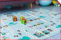 Детский складной двусторонний развивающий термо коврик для игр и ползания, ростомер, 2х1,8 м.