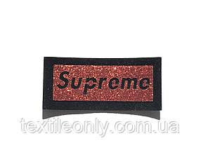Нашивка Supreme / Супрім червоний 65х30 мм