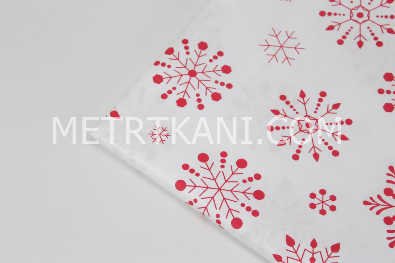 Лоскуток. Польская бязь красные снежинки на белом  87*160 см