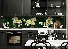 Вініловий 3Д кухонний фартух Бежеві Лілії самоклеюча плівка ПВХ скіналі Квіти Зелений 600*2500 мм