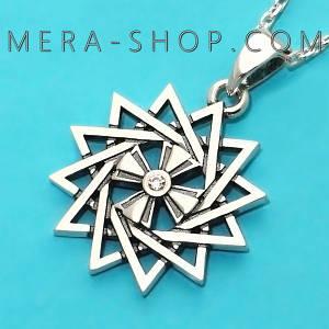Серебряная Звезда Эрцгаммы двухсторонняя с фианитами - амулет Эрцгамма (24 мм, 4.7 г)
