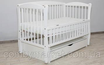Кроватка детская Дубок Элит 2 маятник/ящик откидной бортик белая