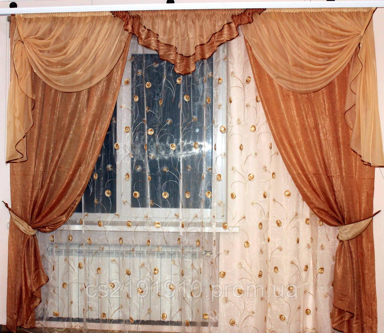Шторы для гостиной Кармен коричневый, фото 1