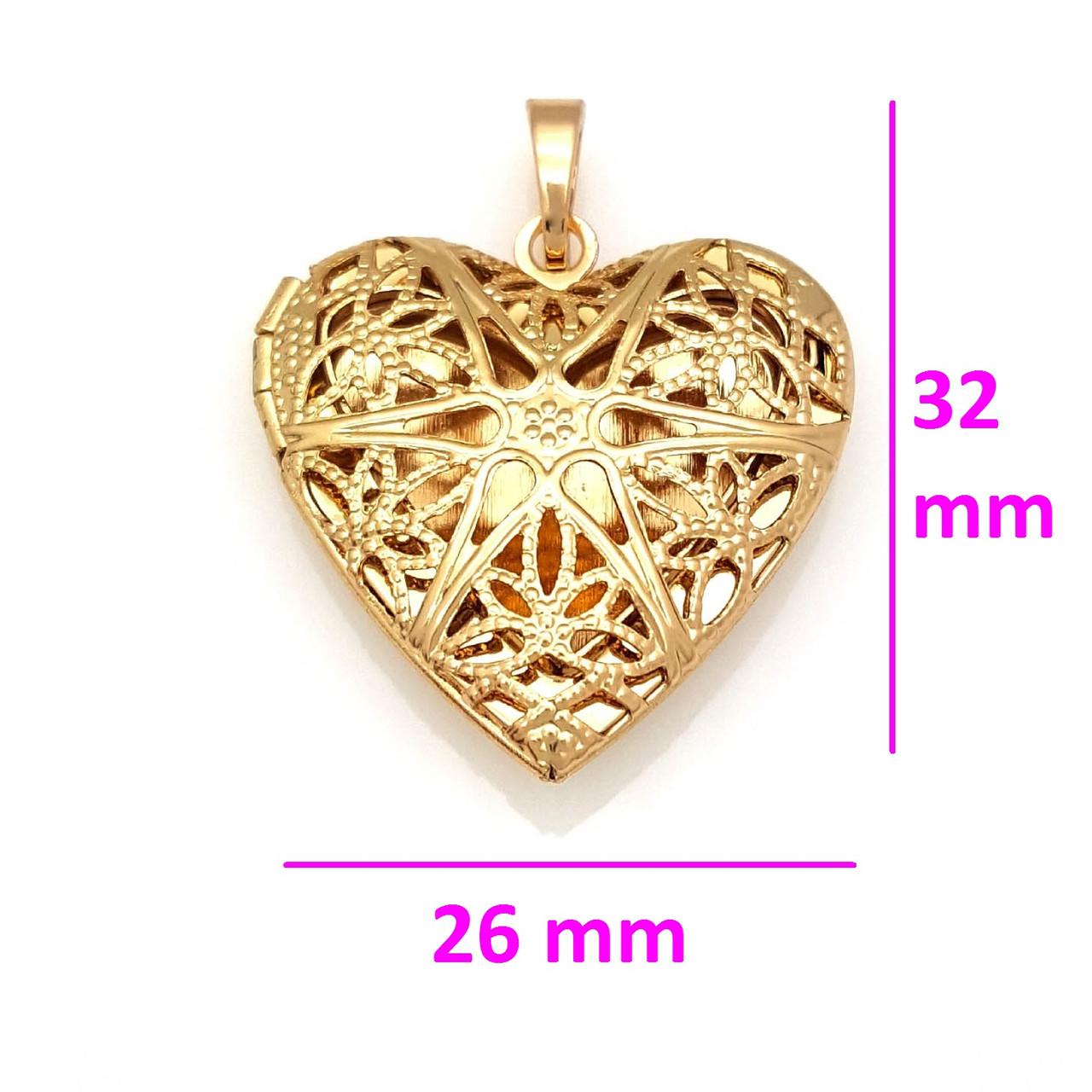 Кулон-медальон, медзолото, Ажурное сердце, без камней
