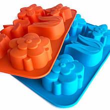 Силиконовые формочки для пироженных, кексов, маффинов, капкейков, тортов, 26х17 см. цветы тюльпан