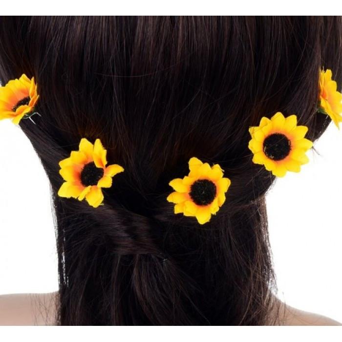 """Шпильки для волосся з квітками пионий, соняшники """"Flower Boom"""", 5 шт"""