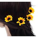 """Шпильки для волосся з квітками пионий, соняшники """"Flower Boom"""", 5 шт, фото 10"""