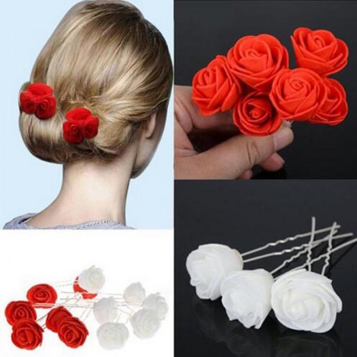 """Шпильки для волосся з квітами троянди """"Tender Rose"""", 6 шт"""