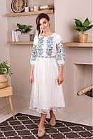 Нарядное красивое белое платье вышиванка из качественной ткани от производителя