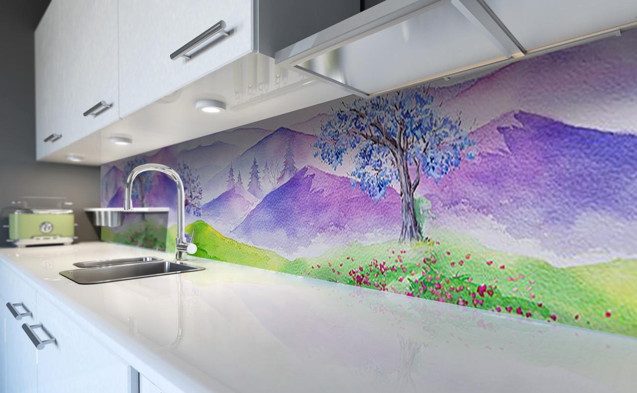 Виниловый 3Д кухонный фартук Акварельные Горы (самоклеющаяся пленка ПВХ скинали) рисунок красками Природа Фиолетовый 600*2500 мм