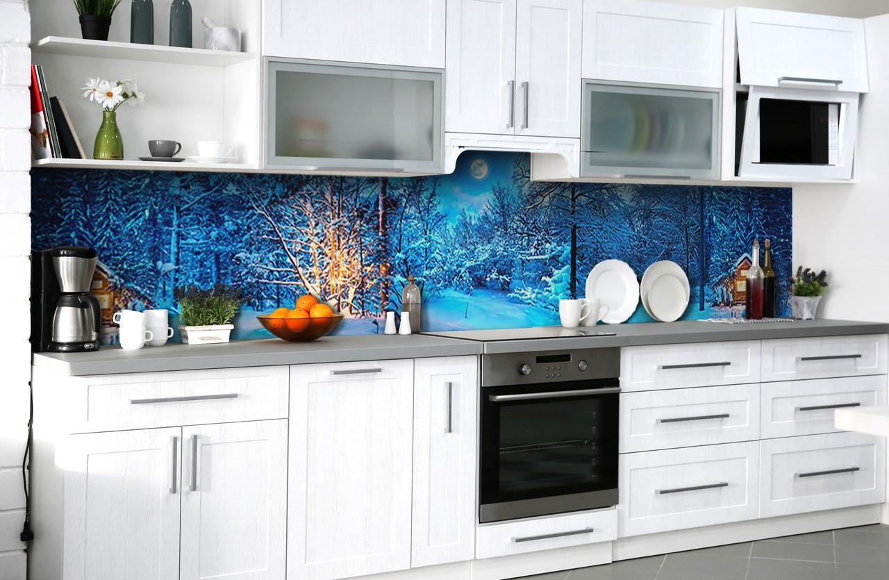 Виниловый 3Д кухонный фартук Зима Вечер в лесу (самоклеющаяся пленка ПВХ скинали) деревья снег Природа Голубой 600*2500 мм