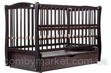 Ліжечко дитяче Дубок Еліт 2 маятник/ящик відкидний борт венге