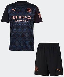 Футбольна форма Манчестер Сіті (Man City), виїзд-темно/синій сезон 20/21