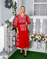 Красива оригінальна жіноча червоне лляне плаття вишиванка