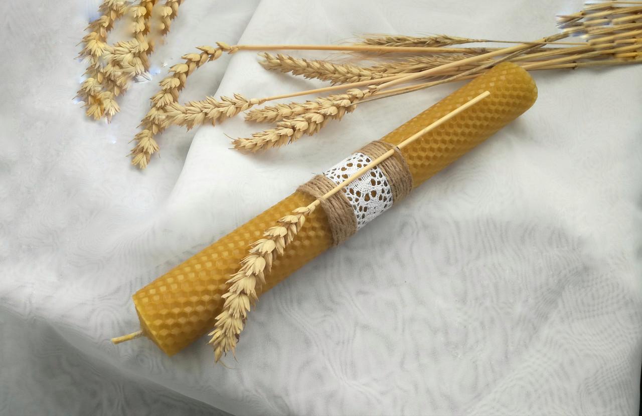 Восковая свеча с вощины с пшеницей Zigrivay (26х3,5см) (10037)