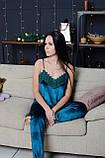 Бархатная женская пижама четверка: Халат, маечка, шортики и штаны, фото 3