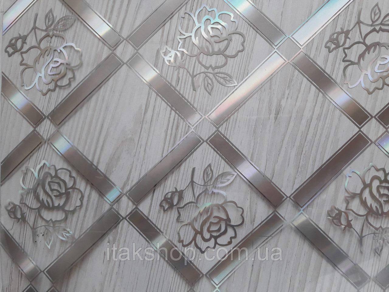 М'яке скло Скатертину з лазерним малюнком Soft Glass 1.4х0.8м товщина 1.5 мм Срібляста троянда в квадраті