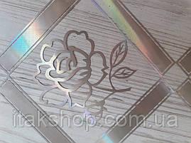 Мягкое стекло Скатерть с лазерным рисунком Soft Glass 1.4х0.8м толщина 1.5мм Серебристая роза в квадрате, фото 2